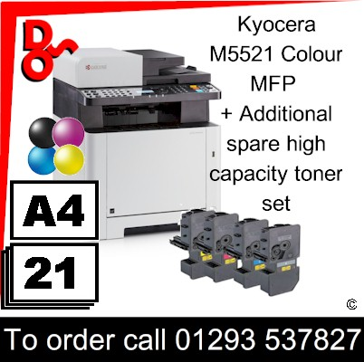 """Special Offer"" NEW Kyocera M5521cdn Colour A4 MFP Printer plus a spare toner set UK Next day delivery for sale Crawley, West Sussex & Surrey"